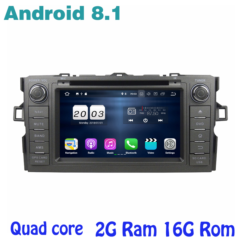 Android 8.1 Quad core Car DVD gps Stereo for toyota Auris 2006-2012 with 2g ram wifi 4G usb bluetooth mirror link seicane quad core 2din 9 android 6 0 car gps radio 1g 16g for 2006 2012 suzuki sx4 with bluetooth wifi support mirror link dvr