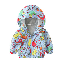 Spring/Autumn Kid Cute Dinosaur Hooded Zip Jacket Coat Infant Boys Girls Windproof Casual Outerwear Baby Hoodie Clothes Clothing недорого