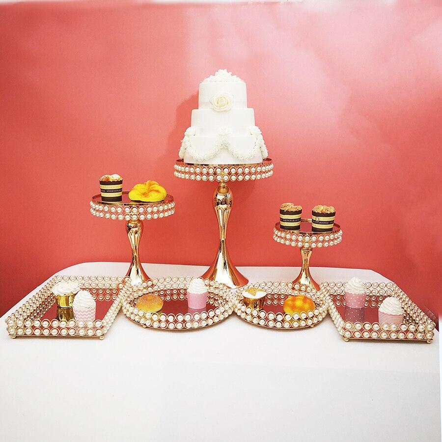 Plateau à gâteau perle décoration de table de mariage support à gâteau ensemble de plateau à gâteau miroir