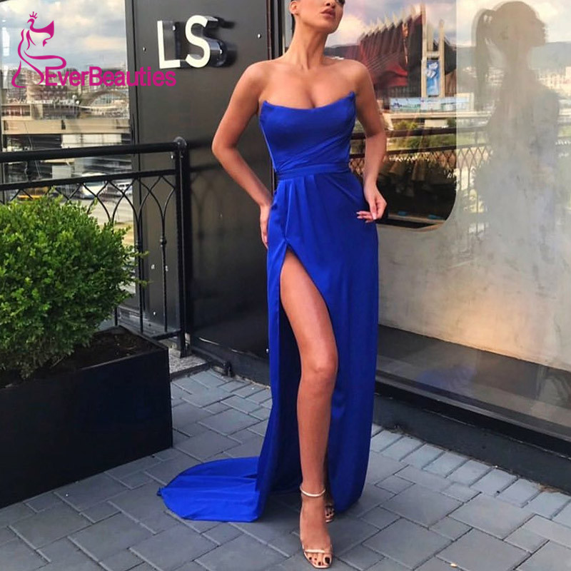 Mermaid Evening Dress 2020 Side Slit Square Collar Blue Prom Party Dresses Robe De Soiree
