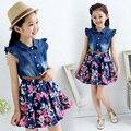 Qualidade de alta qualidade vestidos de festa floral jeans denim algodão camisa de botão de flor para a menina