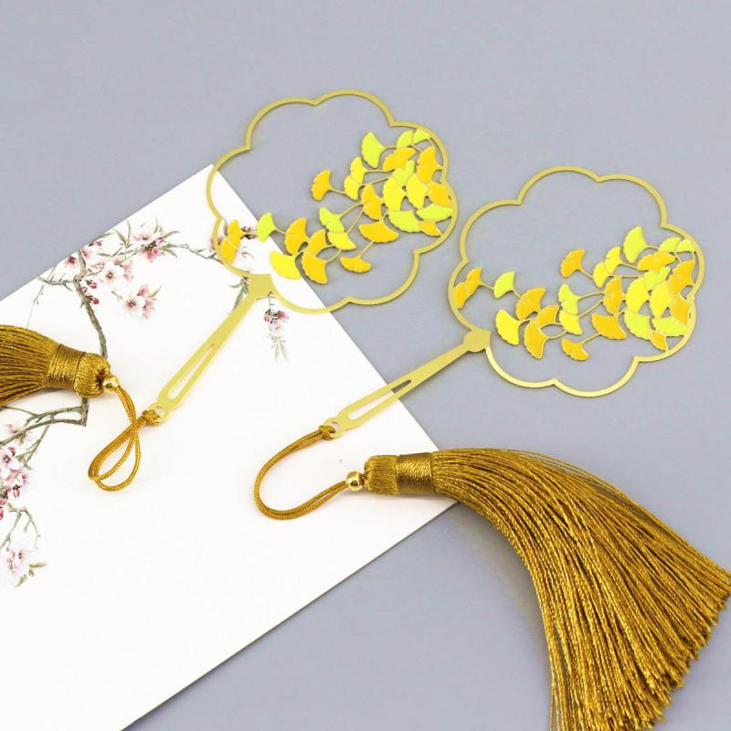 Ginkgo Metal Bookmarks Cluster Fan Art Literature Classical Chinese Style Colorful And Elegant Bookmark