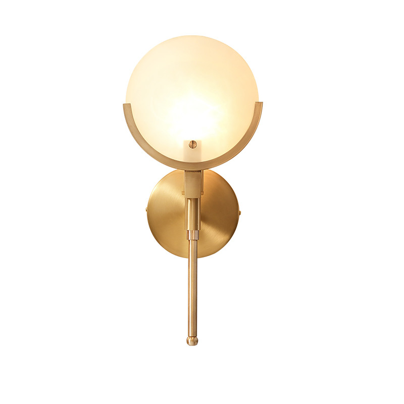American style simple bedside lamp, Nordic living room light aisle corridor light stairs bedroom simple all copper wall lamp