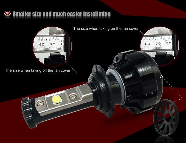 CNSUNNYLIGHT Car Turbo LED Headlight Kit Canbus H7 80W 10000LM Super Bright Replace Bulb with Anti-Dazzle Beam No Error Warning (9)