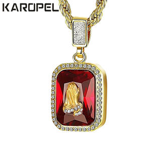 Karopel Hip Hop Men Jewelry Iced Out Micro Red Stone Pendant Necklace 24 Rope Gold Chain