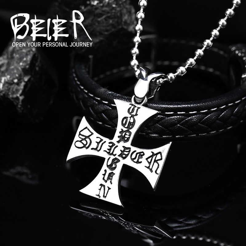 Beier nowy sklep 316L ze stali nierdzewnej stalowy wisiorek naszyjnik wysokiej jakości krzyż moda łańcuch mężczyzn biżuteria LLBP8-145R