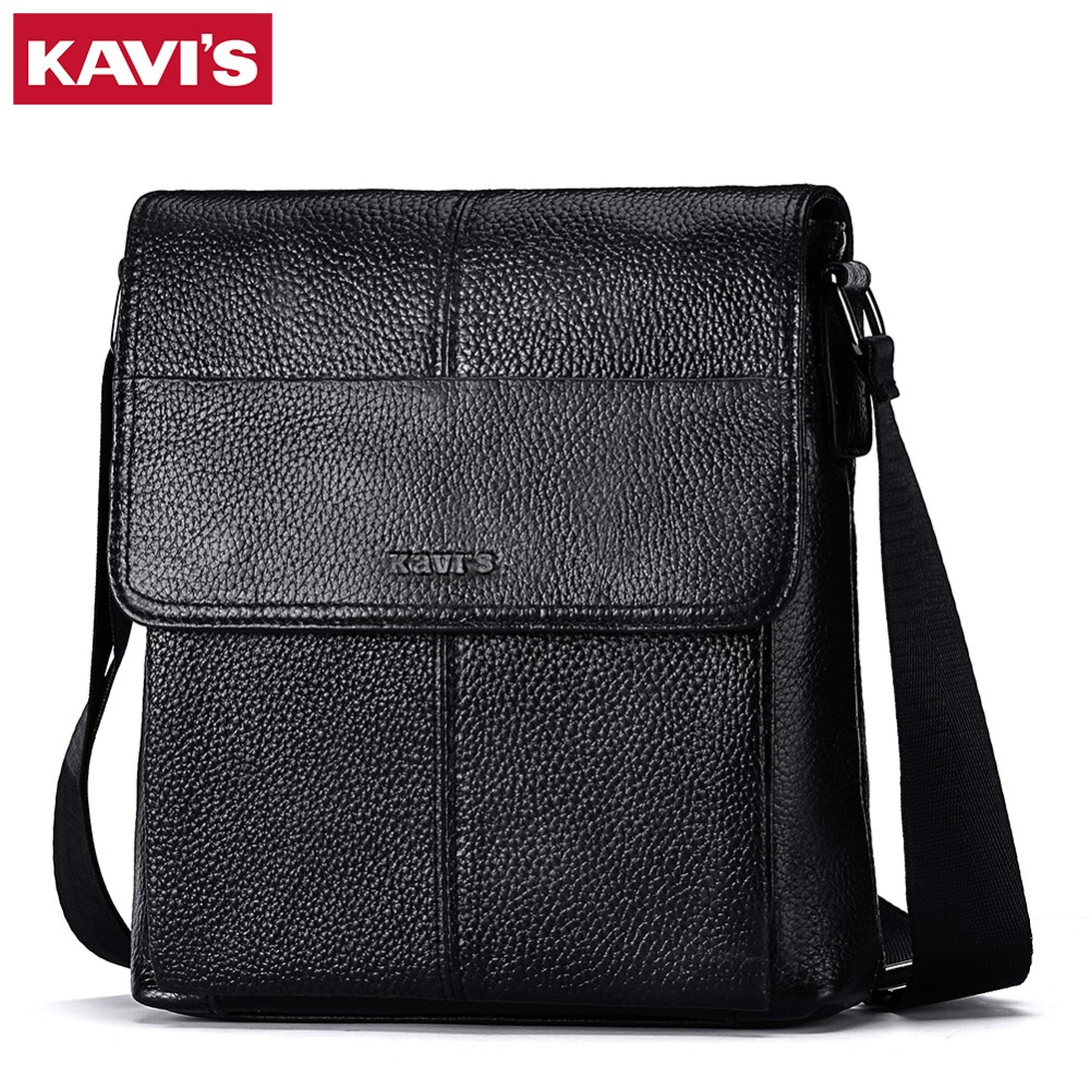 "KAVIS 100% genuine leather men shoulder bag crossbody bags for men high quality bolsas fashion messenger bag for 9.7"" Ipad"