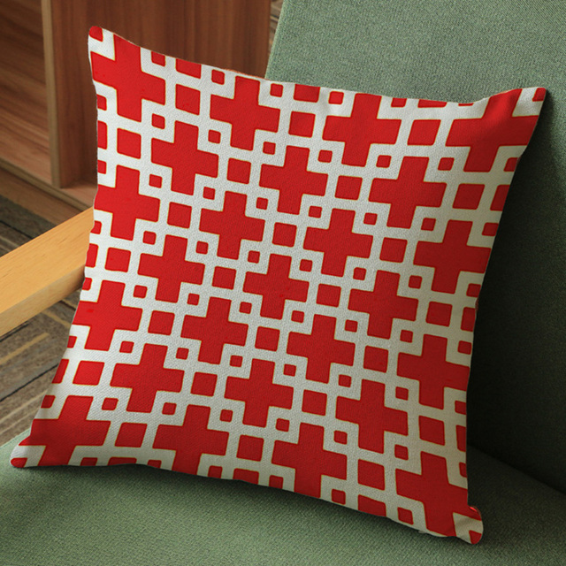 Nordic Red White Black Geometric Cross Design Chair Seat Pillow