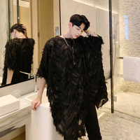Men Bat Short Sleeve Oversize Loose Feather T Shirt Male Streetwear Punk Gothic Party Nigth Club Tshirt Lovers Long Tees Shirts