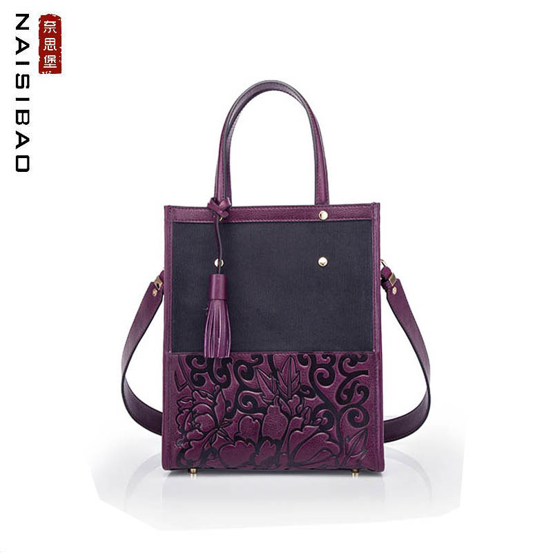 NAISIBAO high quality fashion cotton and linen with leather wide shoulder strap Chinese style embossed vintage fringed ladies caNAISIBAO high quality fashion cotton and linen with leather wide shoulder strap Chinese style embossed vintage fringed ladies ca
