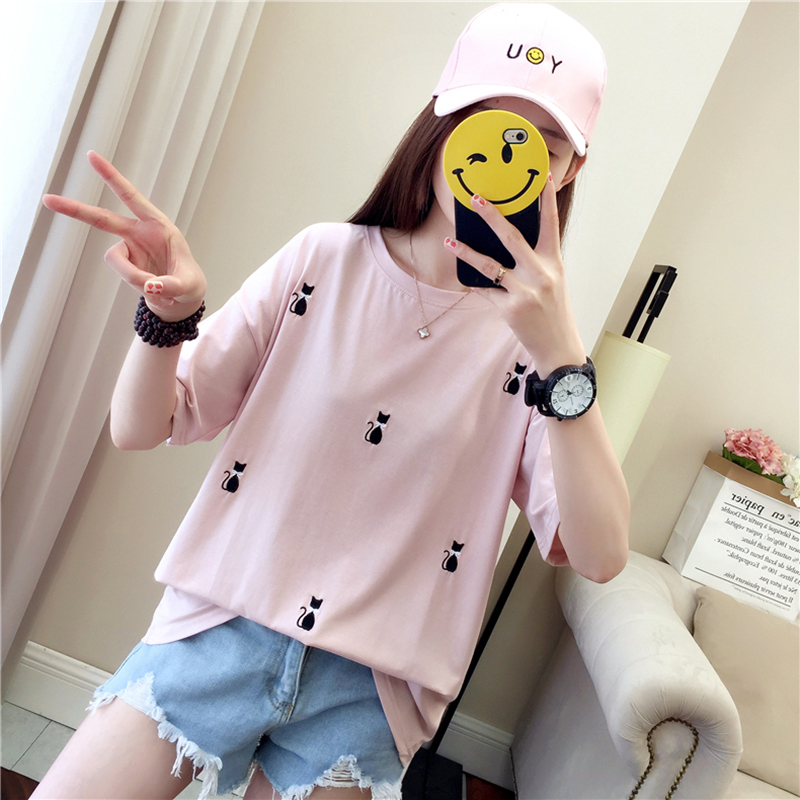 Summer Short sleeve Women Loose T shirt Embroidery Cat Cotton Casual Fashion Female Korean Tops T Shirt Femme Pink White Black in T Shirts from Women 39 s Clothing