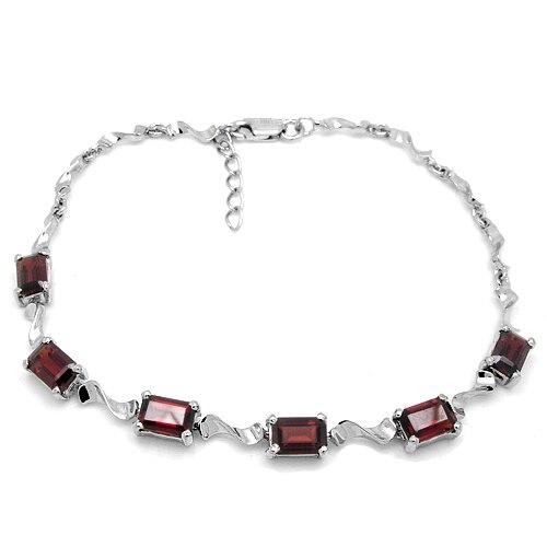 Qi Xuan_Free D'expédition Rouge Foncé Pierre Petite Fleur Bracelets_S925 Solide Argent Mode Bracelet_Manufacturer Directement Vente