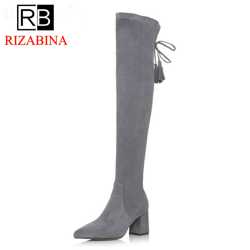 RizaBina Winter Shoes Women Real Leather Thick High Heel Over Knee Boots Female Tassels Pointed Toe Elastic Botas Size 34-39