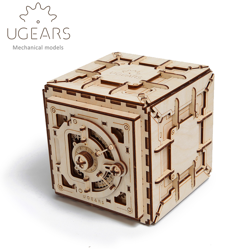 179pcs DIY Wooden Safe Box Mechanical Transmission Model Assembly Puzzle Toy for Creative Gift ...