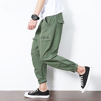Summer sports joggers men's pants casual men's sweatpants plus fat large size fat loose nine pants harem pants streetwear M-5XL