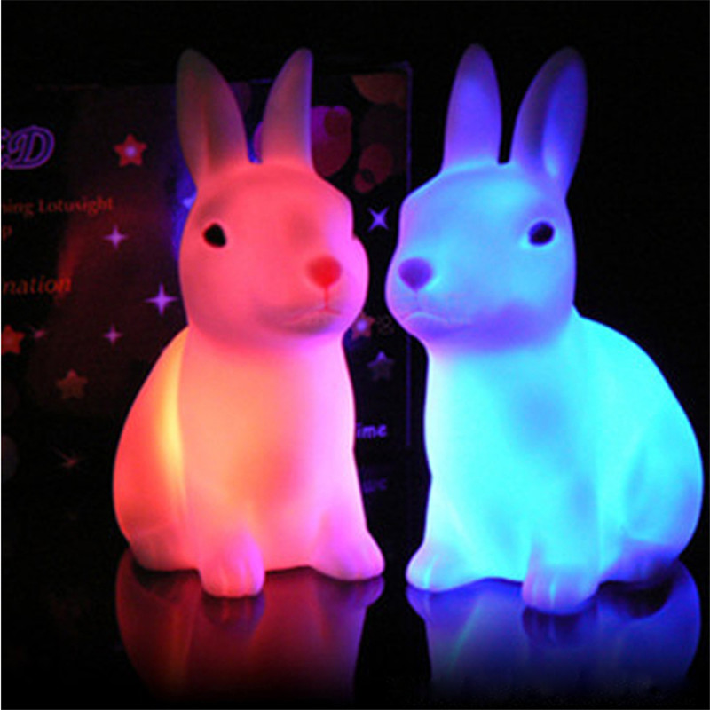 Hotsale Color Changing LED Lamp Night Light Rabbit Shape Home Party Decor Gif
