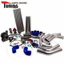 T3/T4 T04E T3 T4 Turbo Universal Kit Carregador + WASTEGATE + INTERCOOLER PIPING +