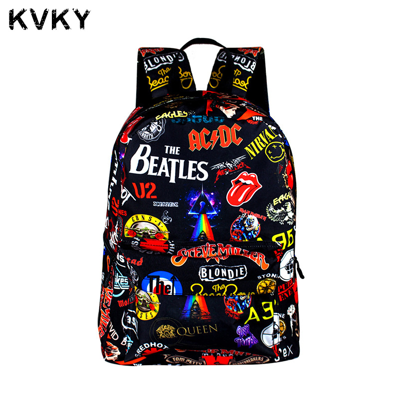 2017 Rock' N' Roll Backpack For Teenagers Boys Girls School Bags Sans Travel Bag Children Hip Hop Backpacks Punk Mochila