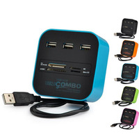 Free Shipping DM HC01 All In One COMBO Multi Function USB2 0 Card Reader Hub HUB