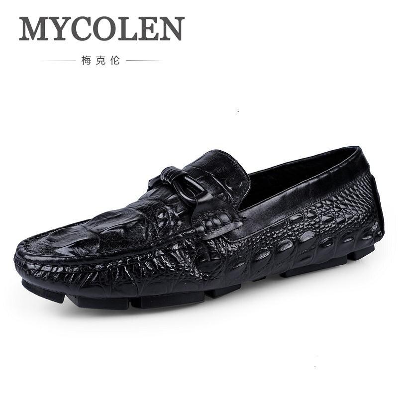 Verão Masculinos Luxo Crocodilo Flat Shoes on Mocassins Homens Mycolen Slip De Sapatos Casuais Couro Preto Vinho vermelho Genuínos Padrão Scarpe dvq44w8Fp