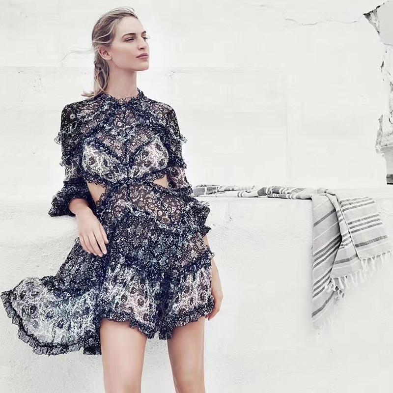 Zim Designer robe de piste 2018 femmes automne Sexy dos nu à manches longues Floral imprimé volants robe en mousseline de soie vacances Boho robe