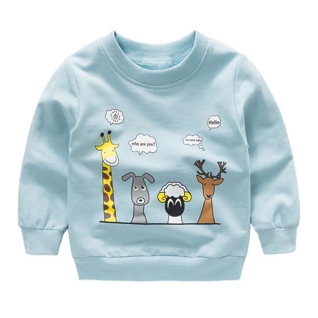 New print Pullover Tee Autumn Winter Kids Sweatshirt Tops Long Sleeve T-shirt Boys Girls Child Baby Clothes