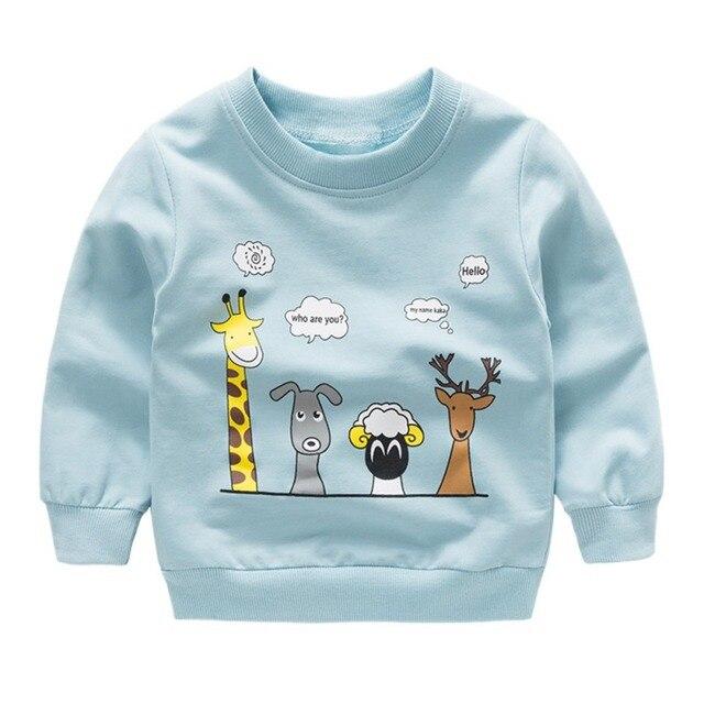 Nieuwe print Trui Tee Herfst Winter Kids Sweatshirt Tops Lange Mouw T-shirt Jongens Meisjes Kind Baby Kleding