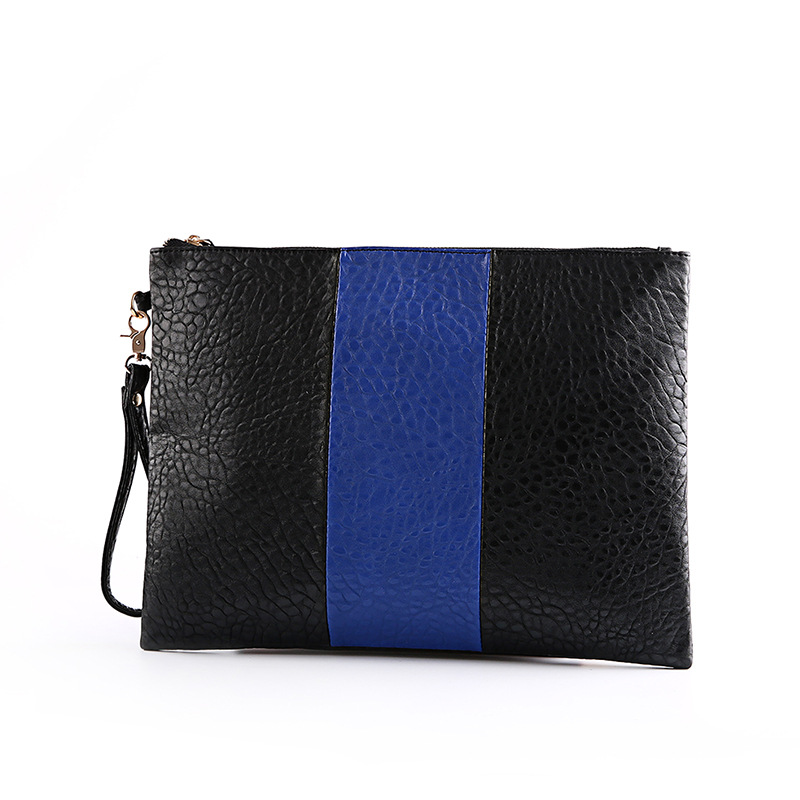 New Women Handbag Solid Patchwork Lady Day Clutches Popular Stitching Soft Zipper Packet Fashion font b