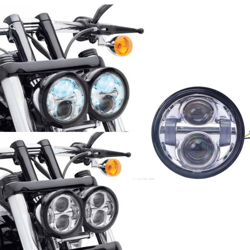 2XChrome New Daymaker Led Headlamps For Harley Dyna Fat Bob FXDE High Low Beam Headlight Harley Headlight 4.7inch Led headlight 5pcs e27 led bulb 2w 4w 6w vintage cold white warm white edison lamp g45 led filament decorative bulb ac 220v 240v
