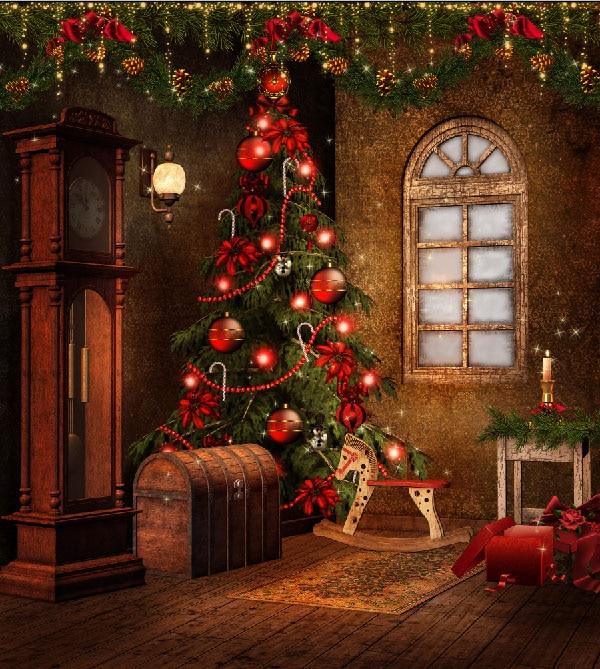 10x10FT Vintage House Indoor Floor Clock Christmas Tree ...