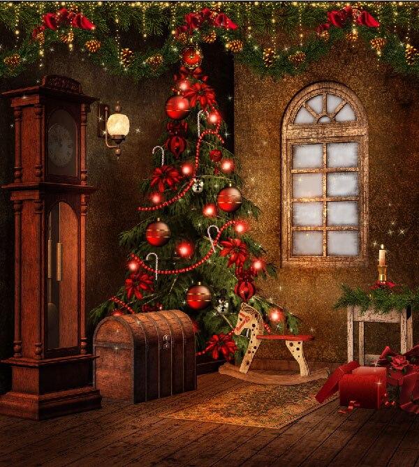 Weihnachtsbaum Girlande.Us 28 03 15 Off 10x10ft Vintage House Indoor Standuhr Weihnachtsbaum Girlande Koffer Benutzerdefinierte Fotografie Hintergrund Studio Hintergrund