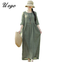 Uego 2021 New Arrival Fashion Spring Summer Dress Cotton Linen Printing Dot Prairie Chic Vintage Dress Women Casual Long Dress