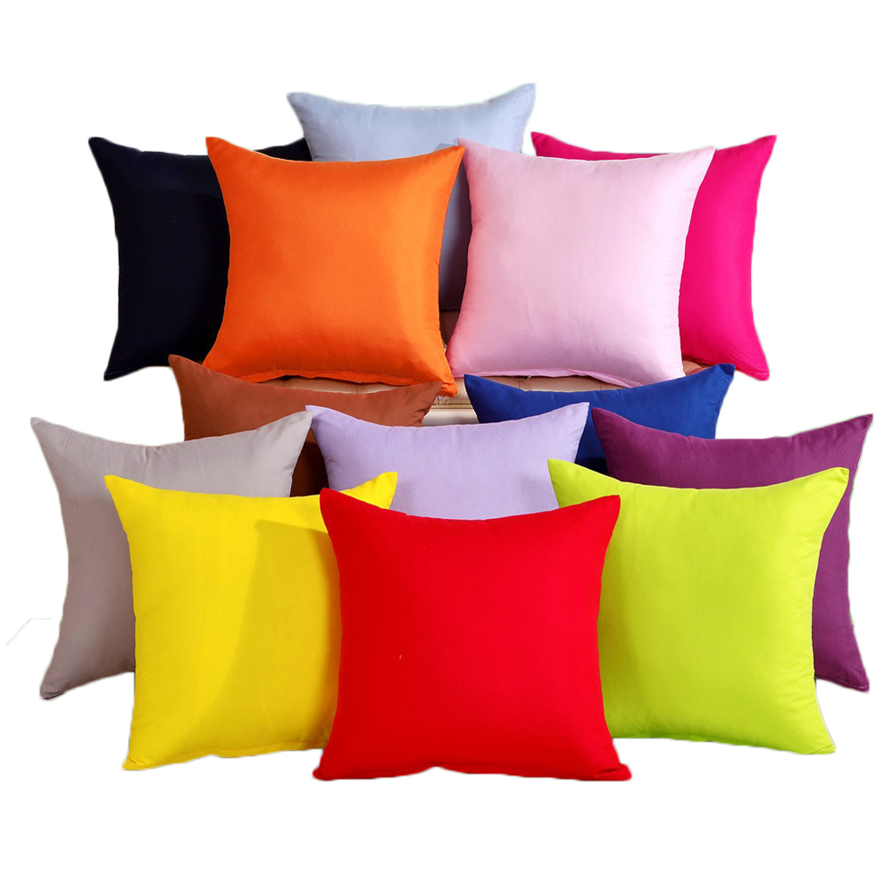 Candy Color Sofa Pillow Cushion Cover Polyester Throw Pillow Case Solid Color