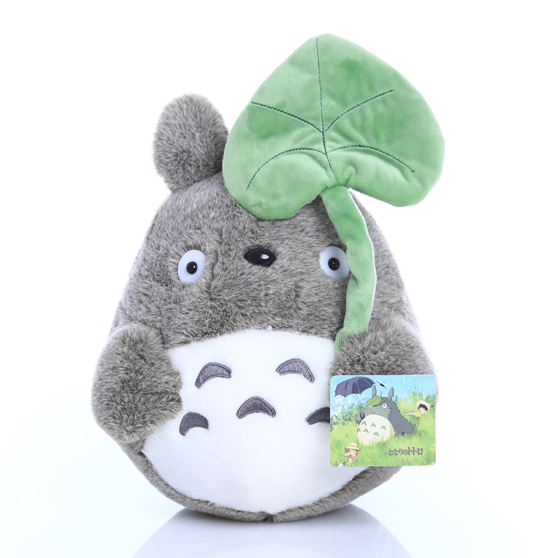 1pcs 25cm Totoro Plush Toy with Lotus Leaf Stuffed Animal Gray Cotton Doll Girl's Gift Kids Child Birthday Toys 25cm cartoon totoro legume plush toys kids toys new style totoro pillow cushion cloth doll birthday gift big pendant