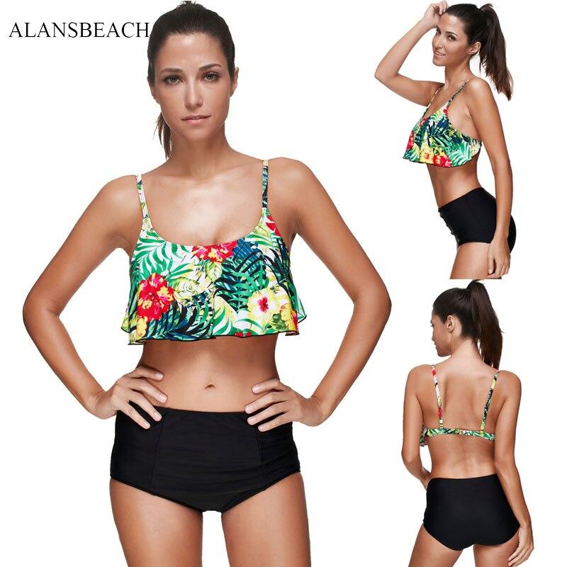 ALANSBEACH High Waist Bikini Sets Bandeau Swimsuits Sports Bathing Suits 2018 Maillot Plus Size Swimmer For
