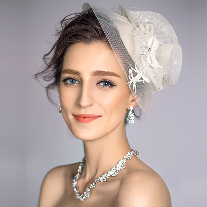Original Design Ivory Beige Wedding Veil Hats With Pearl And Bow Decoration Romantic Party Small Bridal 75270 In Holidays Costumes From Novelty