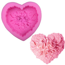 Roses peach heart sugar cake silicone mold chocolate soap mold cake dessert decorative mold DIY kitchen pastry baking tools cute pig silicone cake mold diy rice cake mold steamed cake mold handmade chocolate candy biscuit sugar soap mold dessert tool