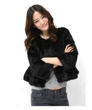 Free shipping real natural genuine rex rabbit fur coat women luxurious natural fur jacket waistcoats