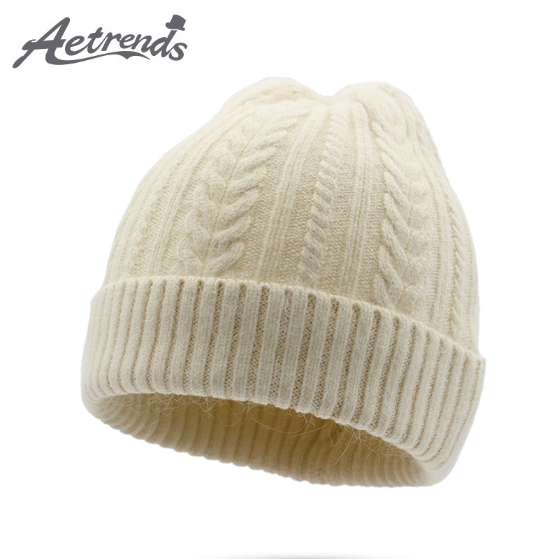 [AETRENDS] 2017 New Winter Real Fur Beanie Hats for Women Warm Rabbit Fur Knitted Beanies Female Caps Z-5971 2016 new beautiful colorful ball warm winter beanies women caps casual sweet knitted hats for women outdoor travel free shipping