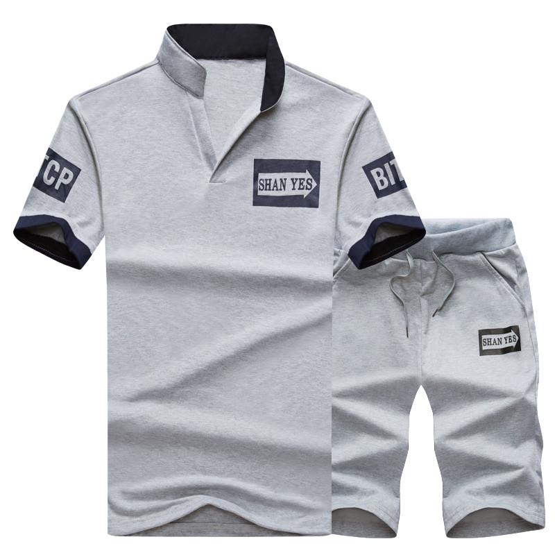 2 Pieces T-shirt Shorts Tracksuit Sport suits Set Men 2018 Brand Fitness Suits Summer 2PC Top Short Set Mens Stand Collar Fashion 4