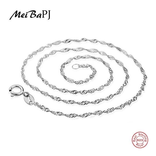 [MeiBaPJ] Bất Động 925 Sterling Silver Bạc Chuỗi Sóng Nước Vòng Cổ Cho Womens Chain 45 cm Nhà Máy Bán Buôn Giá