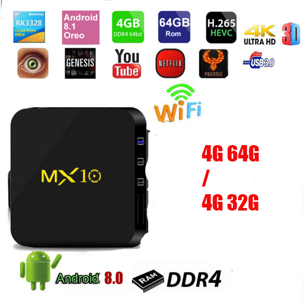 5pcs MX10 TV BOX Android 8.1 vs h96 pro Rockchip RK3328 Quad-core 4GB RAM 32G/64G ROM Suppot H.265 4K 2.4G WiFi Set-top box