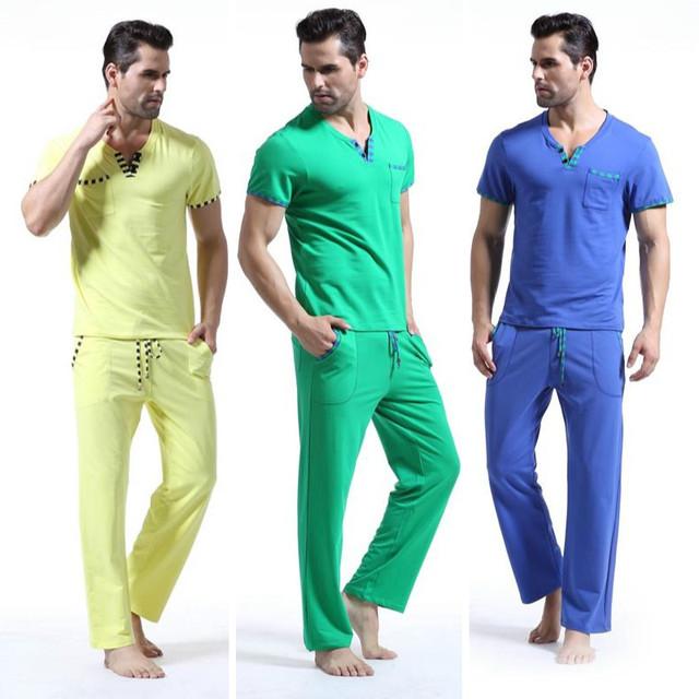 WANGJIANG NUEVO remiendo de La Manera masculina de algodón conjunto de salón pantalones de pijama de dormir set