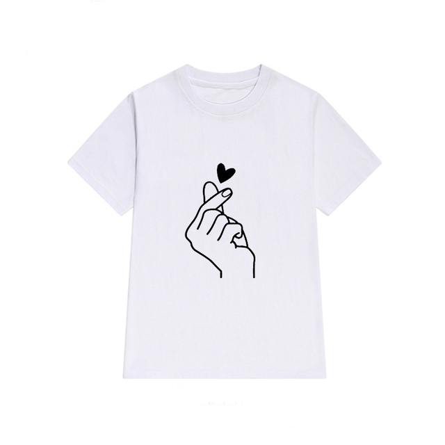 Short-Sleeved Hand with Heart Printed Women's T-Shirt