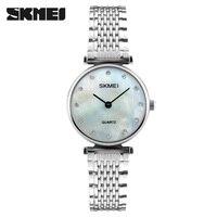 Women Watch SKMEI New Fashion Rose Gold Silver Stainless Steel Clock Dress Sports Quartz Watches Rhinestones