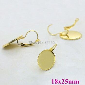 18x25mm New Gold tone Plated Blank Bases Oval Bezel Cabochons Settings Clip hook Earrings Findings bulk Wholesale
