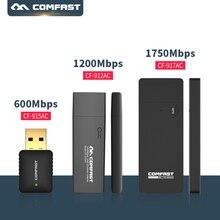 Usb wifi адаптер 600 мбит/с ~ 1750 мбит/с 802.11ac/b/g/n long distance usb wi-fi comfast 2.4 г 5 г двухдиапазонный dongle беспроводной сетевой карты