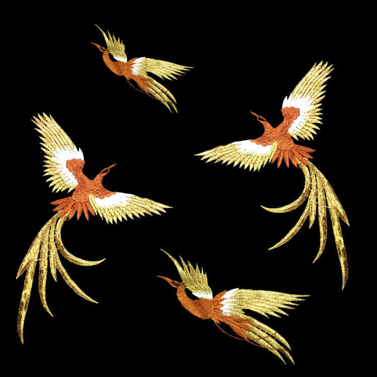 Phoenix Bird Kombinasjon Gold Thread Broderi Patches For Cloth Broderte Applique Birds DIY Tilbehør Uten Lim