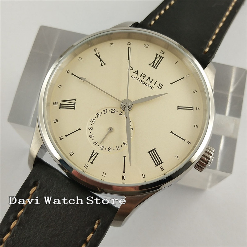 42mm Parnis Beige Dial Leather Strap Automatic GMT Bussiness Wrist Watch 2572