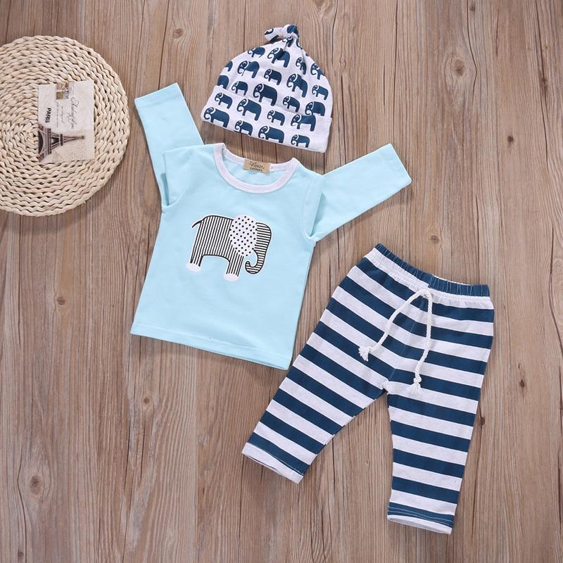 Baby Boy Set Elephant Long Sleeve+Stripe Pants+Cartoon Headband Toddler Boys Clothing Animal Print Tracksuit Clothing Set